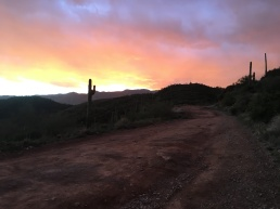 Sunset near the top of the 2 mile climb around mile 47.